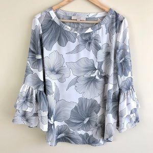 LOFT Ann Taylor Floral Ruffle Bell Sleeve Blouse